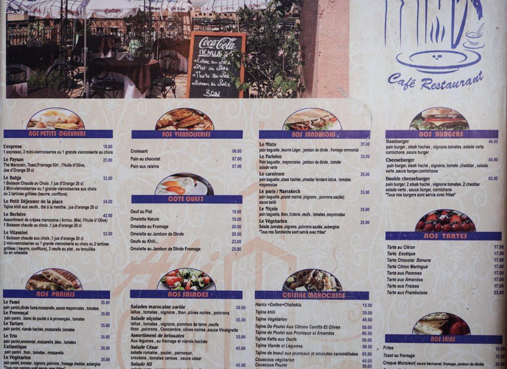 Ceny w restauracji w Maroku, ceny średnie jak na Maroko