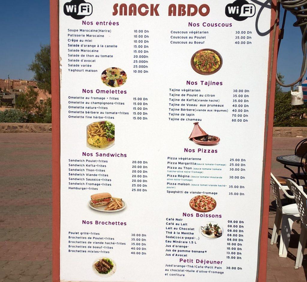 Ceny w Maroku w małym mieście, ceny bardzo niskie