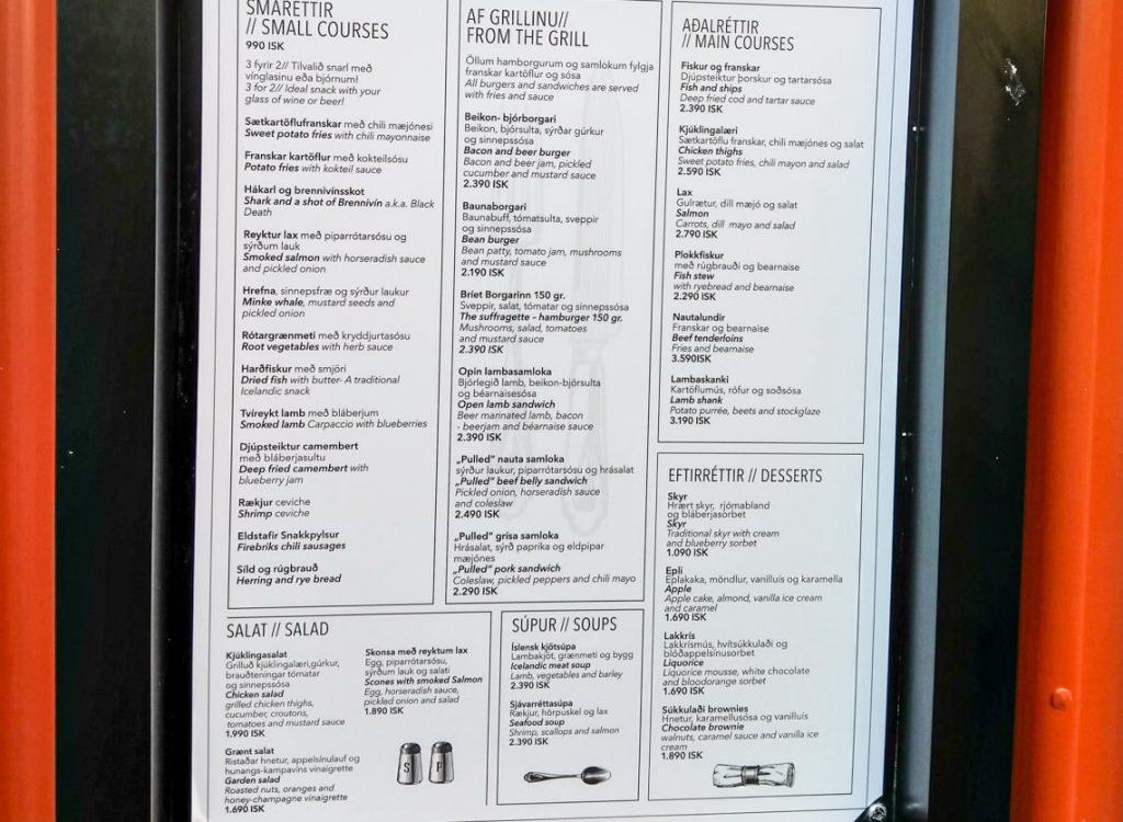 Menu w restauracji na Islandii