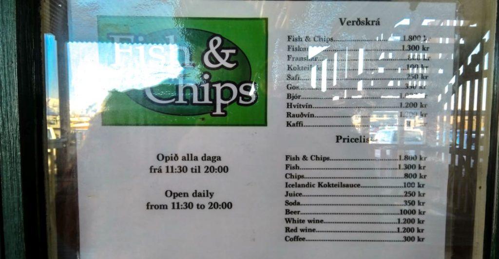 Ryba z frytkami na islandii