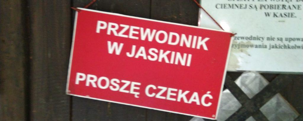 znak przewodnik w jaskini - Ojcowski Park Narodowy